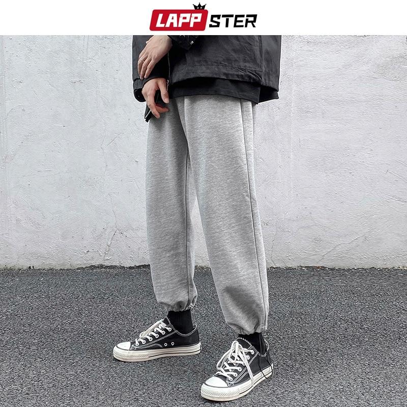 LAPPSTER Männer Solide Japanische Streetwear Jogginghose 2020 Herren 5 Farben Harajuku Jogger Hosen Männlichen Baggy Baumwolle Schwarz Schweiß Hosen