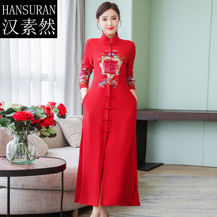 2019 Spring New Style Over-the-Knee Ethnic-Style Embroidered Loose-Fit Kuotaitai Dress Retro Trench Coat Stand Collar Long Skirt