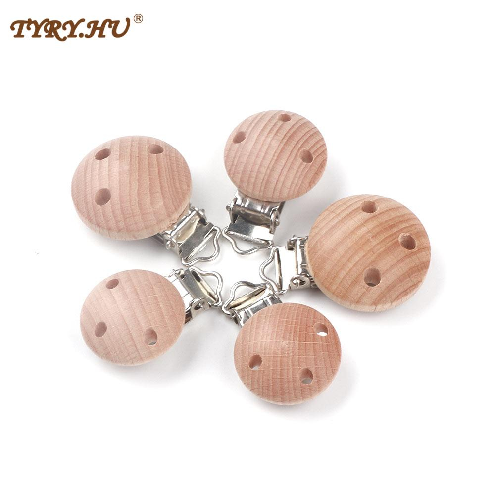 5PC 30/34mm Baby Pacifier Clip Metal Wooden Baby Pacifier Holder Infant Nipple Holder Dummy ClipSoother Teether Feeding Care