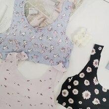 BCCZMISS New Daily Lingerie Sleep For Women Cute Rabbit Sunflower Swan Pattern Underwear Female Sport Thin Wire Free Bra Comfort