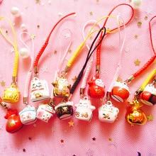 40 adet Kawaii telefon askısı sevimli şanslı kedi çan telefon süsü zincirleri DIY telefonu aksesuarları