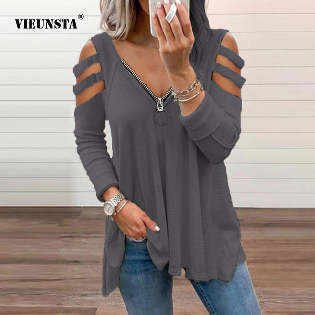 Fashion Chic Hollow Out Long Sleeve Tops Lady Elegant Zip V-Neck Solid Blouses Shirts 2021 Spring Casual Women Blusas Sweatshirt