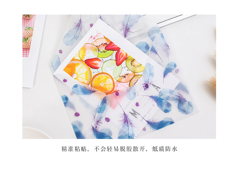 Creative small fresh printing translucent sulphuric acid paper envelope Thanksgiving gift postcard storage can be printed