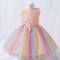 Vestido de encaje de arco iris para recién nacido, ropa de 1 ° cumpleaños para niña, vestido de princesa con apliques, ropa de fiesta, 2021