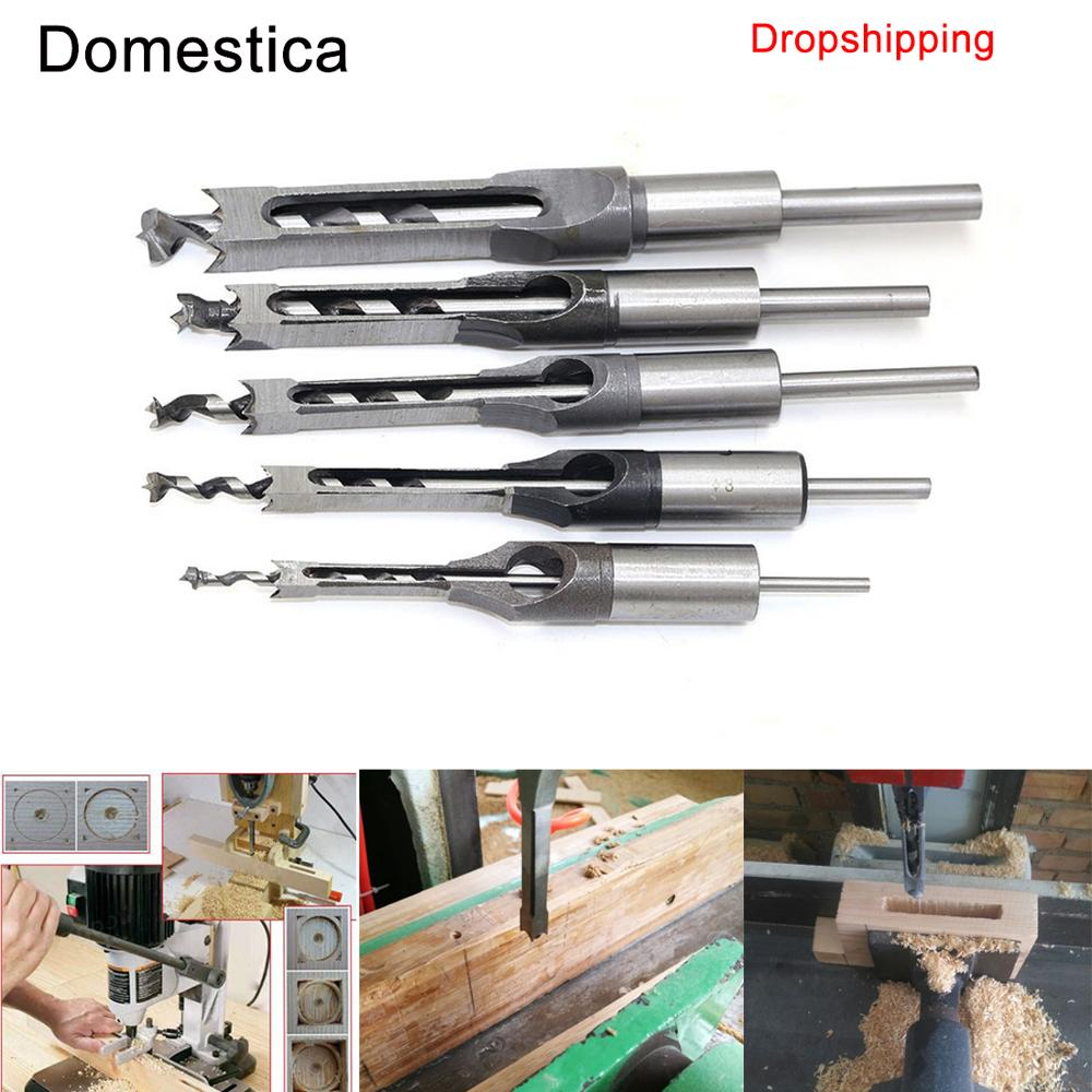 Twist Drill Bits Square Auger Mortising Chisel Drill Set High-Speed Steel Woodworking Hole Extended Saw Tools Kit Dropshipping