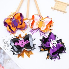 Oaoleer Hair Accessories 4.5 Halloween Clips for Girls Print Bows Felt Spider Bowknot Hairgrips Headwear