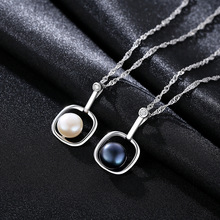 цена S925 Pure Silver Pendant Water Wave Necklace Natural Freshwater Pearl Anti-allergy Pearl Necklace Woman Jewelry онлайн в 2017 году