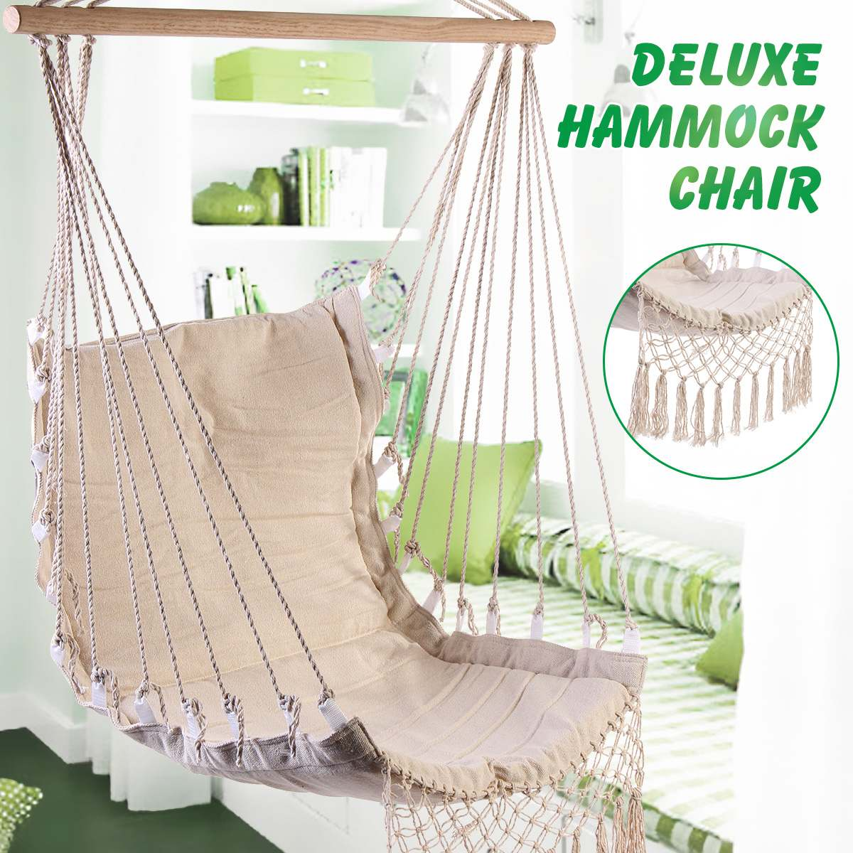 Nordic Style Home Garden Hanging Hammock Chair Outdoor Indoor Dormitory Swing Hanging Chair With Wooden Rod