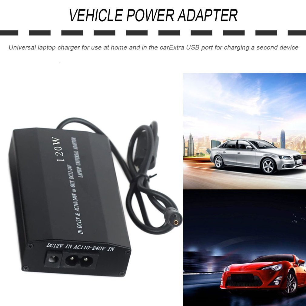 LESHP 120W Car + Household Dual Use Power Adapter Multifunctional Notebook Battery Charger Universal Power Supply EU Plug Auto