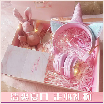 LOL surprise dolls Cute Unicorn Wired Headphone With Microphone Music Stereo Earphone Computer Mobile Phone Headset Kids Gifts oyk ok 8808 3 5mm wired stereo headband headphone w microphone white