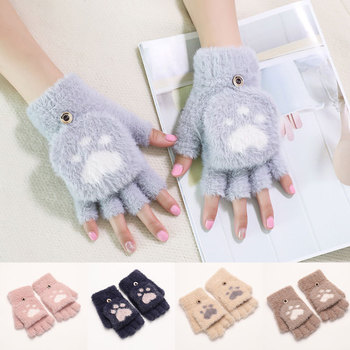 Half Finger Gloves Touch Screen Driving Gloves Cartoon Cat Claw Winter Gloves Antlers Rabbit Ears Plus Velvet Knitted Mittens women winter touch screen gloves frill trim plus velvet faux leather mittens b95f