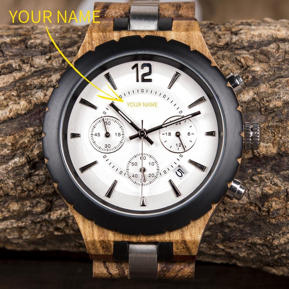 BOBO BIRD Personalized Men Watch Luxury Elegant Customized Wristwatch Wood Metal Chronograph Auto Date Display reloj hombre