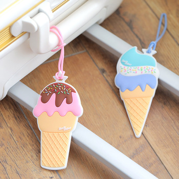 Silicone Sweet Ice Cream Luggage Tags Decoration Card Party Favors Kids Gift Girls Suitcase Bag Ornaments ID Name Address Holder image