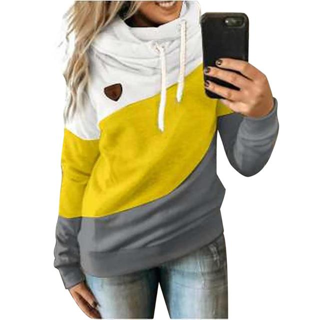 Autumn Winter  Women Cowl Neck Color Block Patchwork Fall Hoodie Sweatshirt Long Sleeve Pullover Casual Warm Hooded Tops 5XL 1