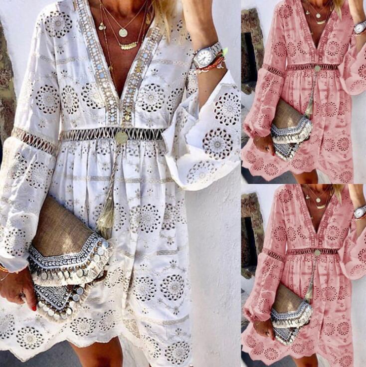 New Arrive  Fashion Women Summer Dress V Neck Full Sleeve Patchwork Lace Plus Size Hot Sale Sexy Long Chiffon Dresses