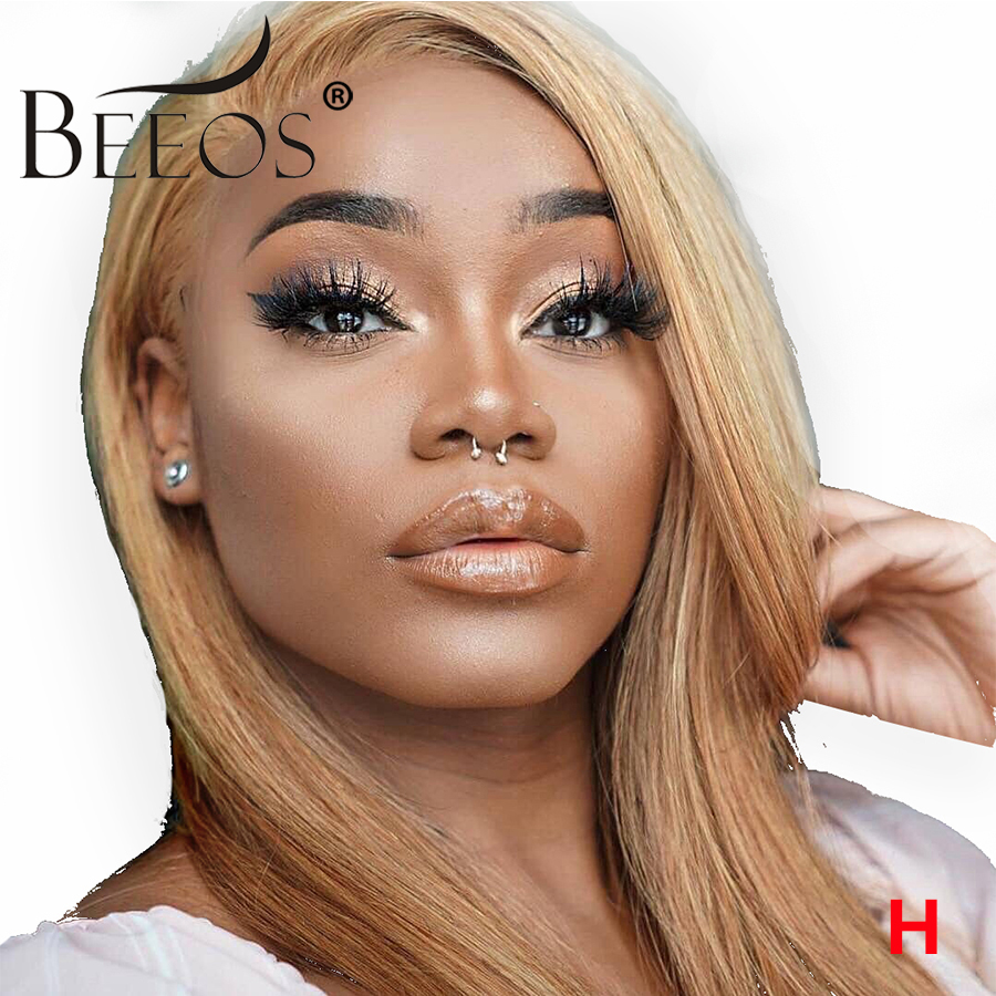 BEEOS 13*4 Lace Front Blonde Wig Pre Plucked Hairline Brazilian Straight Remy Hair Honey Blonde Lace Wigs 150% With Baby Hair