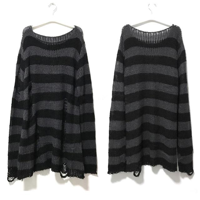 Punk Gothic Long Unisex Sweater 2020 Summer Women Striped Cool Hollow Out Hole Broken Jumper Loose Rock Thin Dark Streetwear Top 3