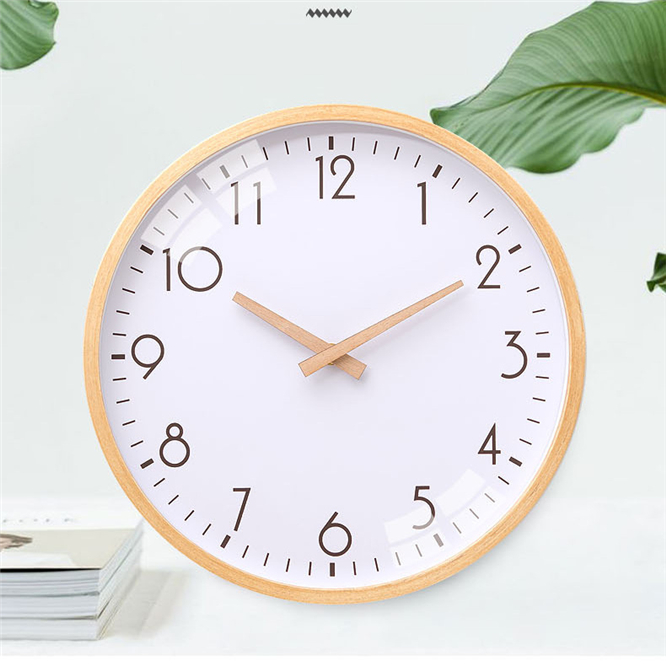 10pcs DHL Minimalist Silent Solid Wood Wall Clock European Style Living Room 10 Inches Wall Watch Bedroom Home Creative Decor