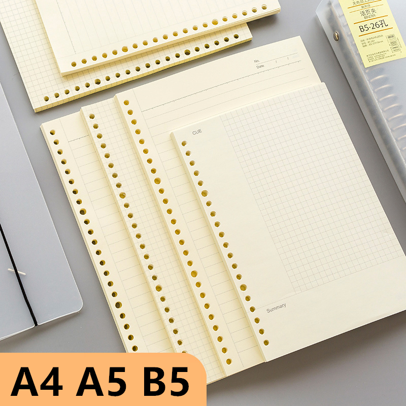 A5 B5 A4 60 Sheets Simple Cover Diary Traveler Loose-leaf Notebook Simple Schedule Book 26 Holes Journal School Office Supplies