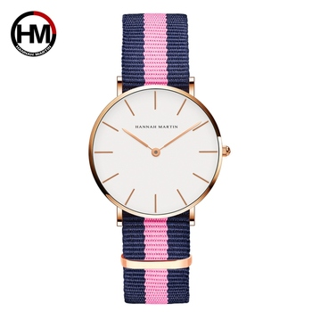Classic Rose Red Dark Blue Nylon Strap Japan Quartz Movement Fashion Casual Wrist Watch Fabric thin Canvas Wristwatch For Women