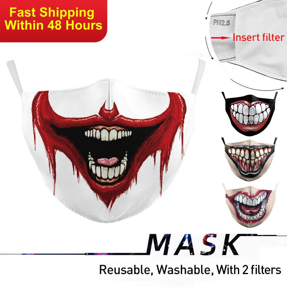 Zawaland Halloween Adult Face Mask Big Mouth Print Protective PM2.5 Washable Fabric Mask Anti Pollution Mask With Fliters