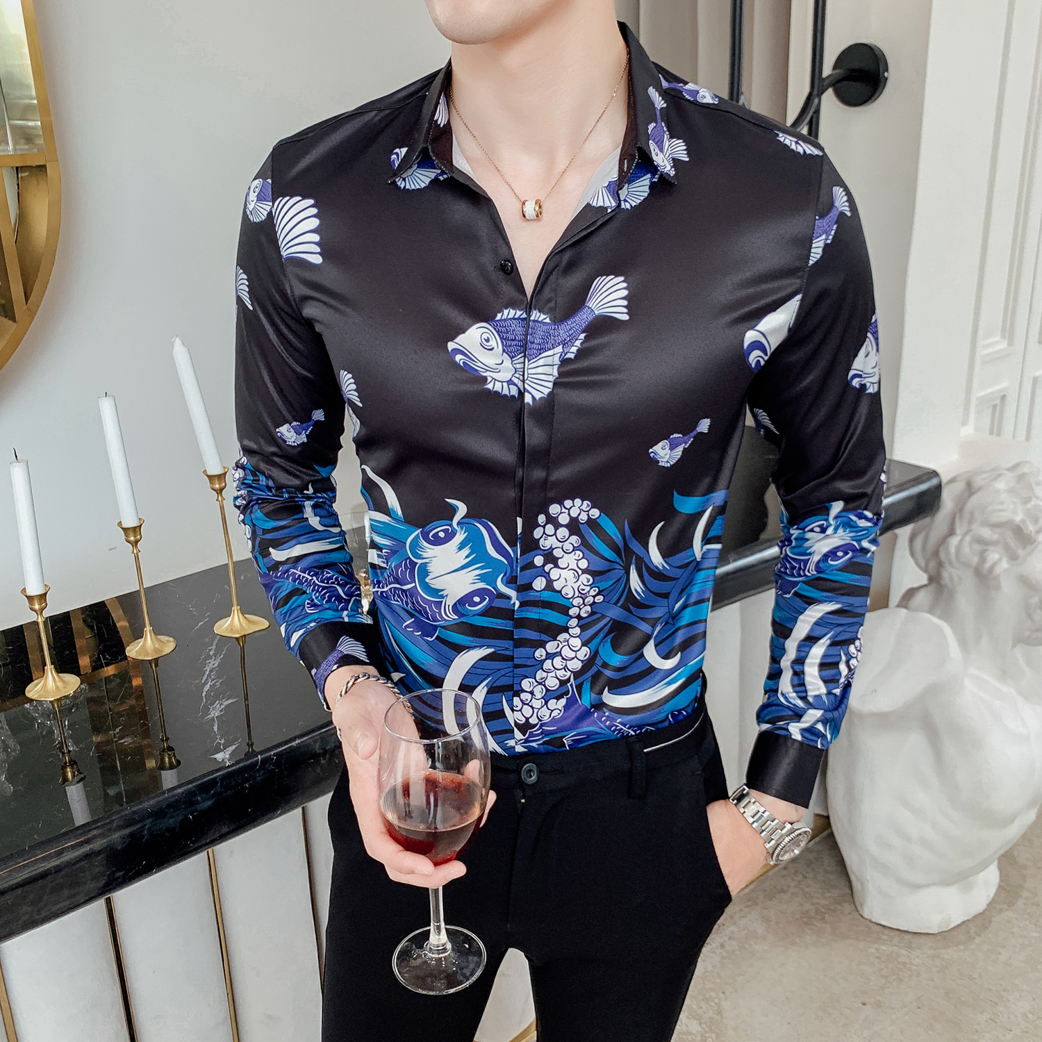 Luxury Ropa De Hombre Gold Mens Printed  Casual Shirts 2019 Autumn Flower Shirt A Gentle Wind Fish Printing Dress Shirt Men