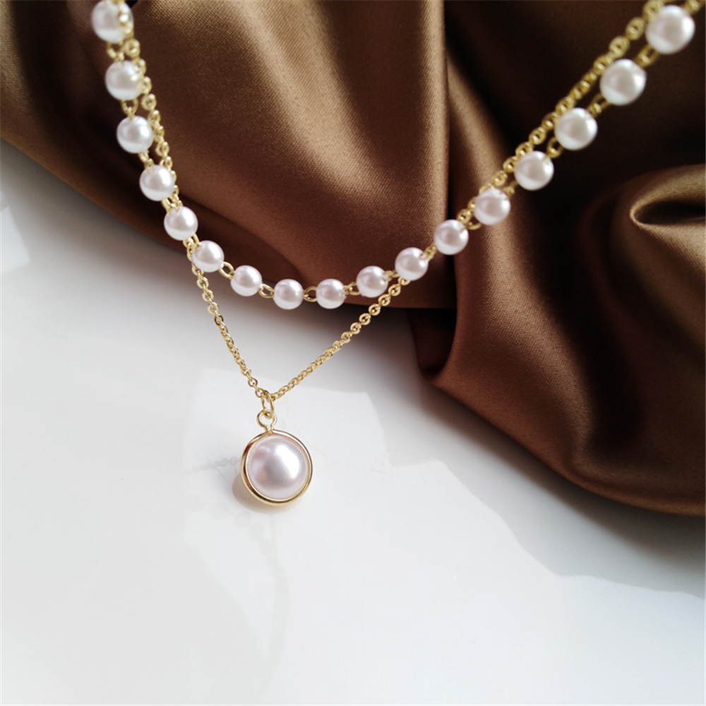 Ruanme spring and summer fashion personality niche contracted neck chain design double chain necklace women sweet pearl clavicle(China)