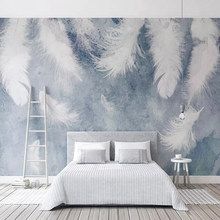 Dropship Custom Photo Wallpaper Modern 3D Chinese Ink Hand-painted Feathers Murals Wall Papers Bedroom Papel De Parede Decor(China)