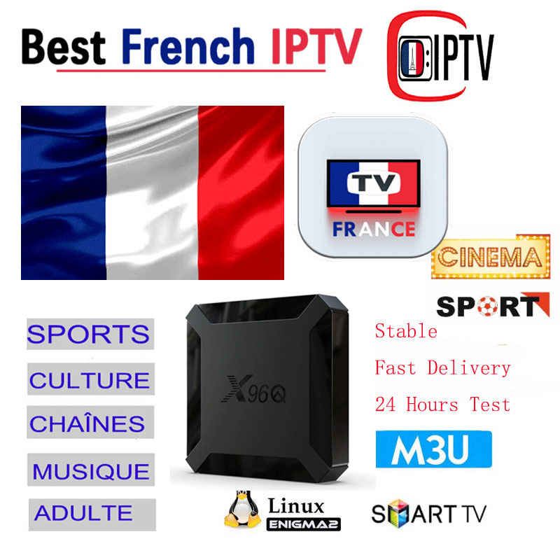 IPTV France M3U Subscription IPTV French Code 4K  Germany Switzerland Belgium Arabic Xxx Adult X96Q Android IPTV Box Smarters