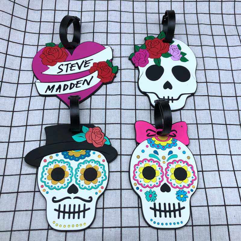 Fashion Skull Flowers Luggage Tags Portable Silica Gel Suitcase ID Address Holder Baggage Boarding Label Travel Accessories