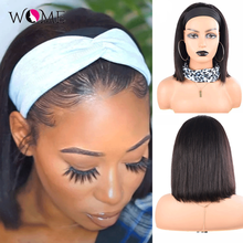 Wome Straight Short Bob Headband Wigs With Scarf 100% Human Hair Wig 8-14inch Glueless Full Machine HeadBand Wig Natural Color