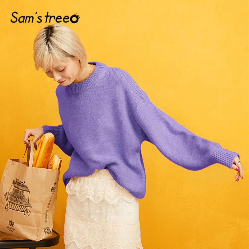 SAM'S TREE Orange Solid Knitted Pullover Sweater Women 2019 Autumn Purple Long Sleeve Pure Causal Office Ladies Basic Tops