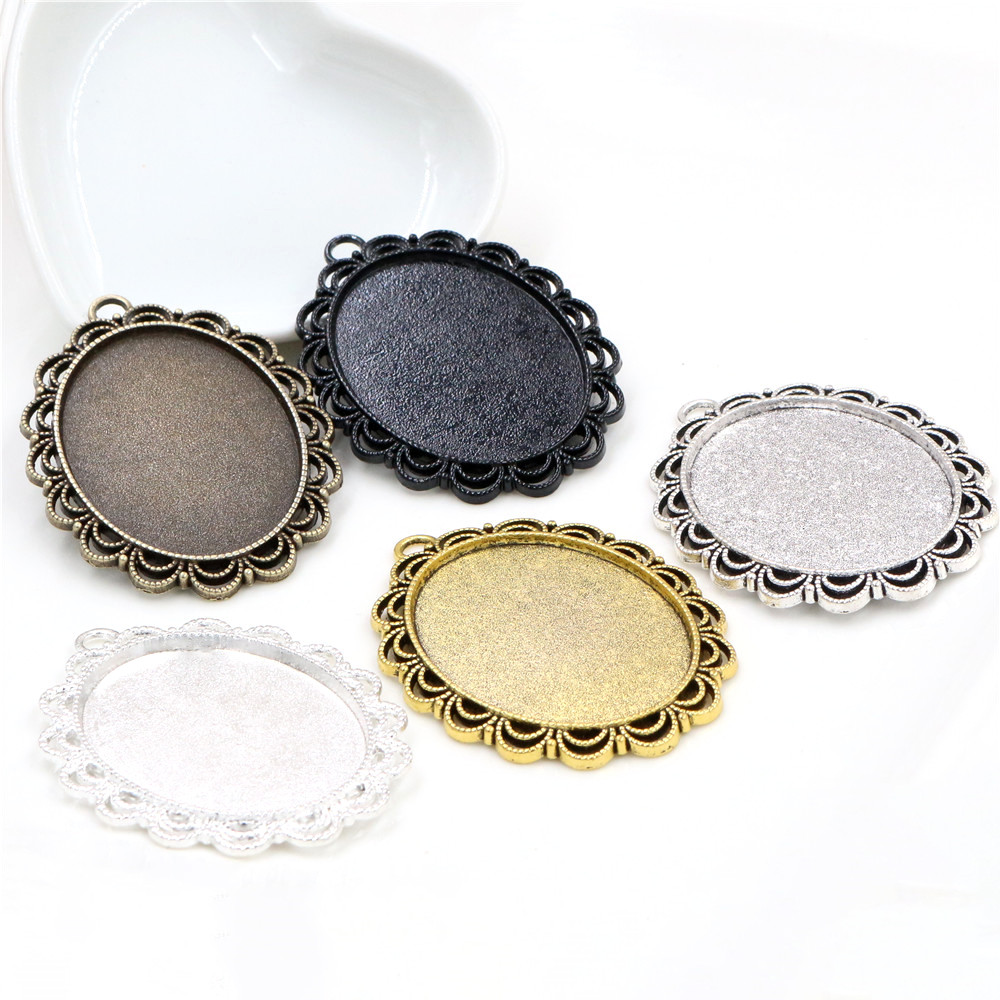 5pcs 30x40mm Inner Size 5 Colors Plated Pierced Flower Style Cabochon Base Setting Charms Pendant