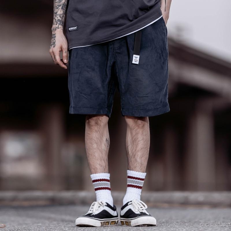 Corduroy Casual Shorts Men Summer Streetwear Elastic Waist Drawstring Belt Shorts Mens Baggy Cargo Shorts