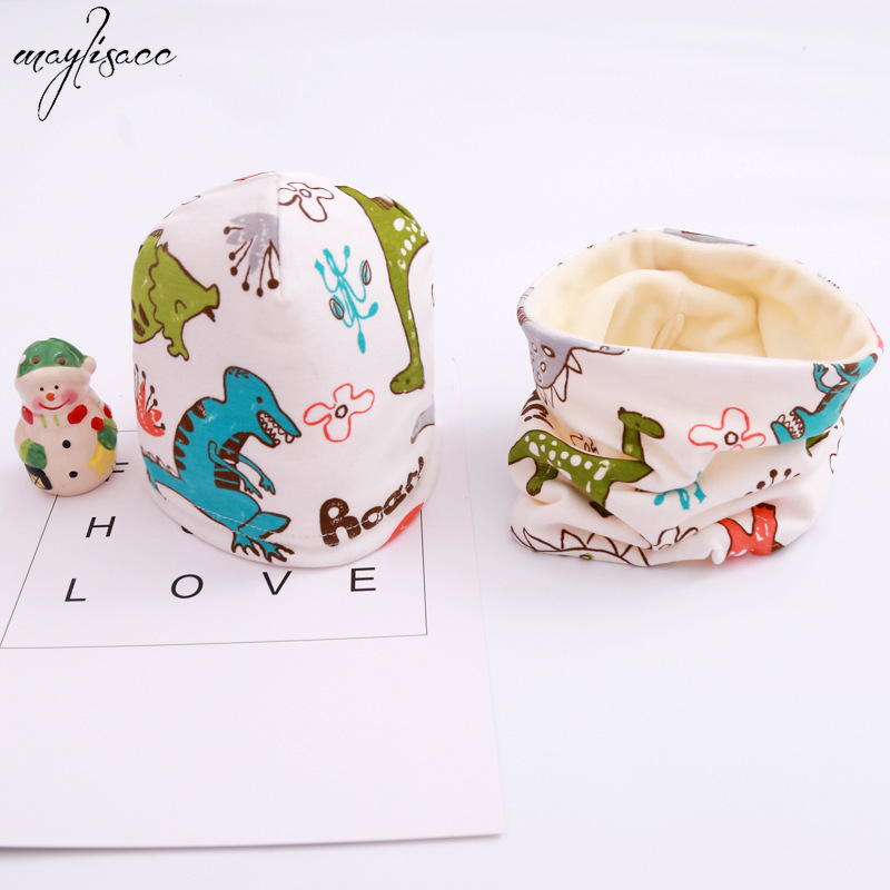 Maylisacc 0-8 Years Old Boys Girls Children Spring Autumn And Winter Scarf Hat 2 Pcs Set Baby Cotton Collar Beanie Snood Set