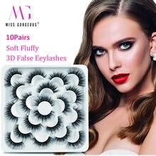 10Pairs 3D False Eyelashes Faux Mink Lashes Natural Thick Long False Eyelashes Fake Lashes Makeup Extension Eyelashes maquiagem