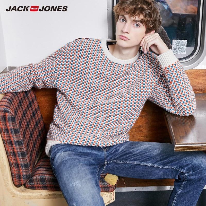 JackJones Men's Autumn&Winter Loose Fit Woven Round Neckline Knit Sweater Style  219424517