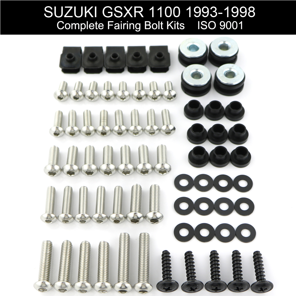 For Suzuki GSXR 1100 GSXR1100 1993-1998 Complete Full Fairing Bolts Kit Bodywork Screws Clips Speed Nuts Covering Bolts