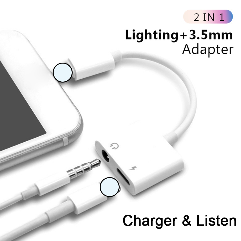 2 In 1 Lighting Charger Listening Adapter For Iphone X 7 Charging Adapter 3.5mm Jack AUX Splitter Adaptador For Iphone