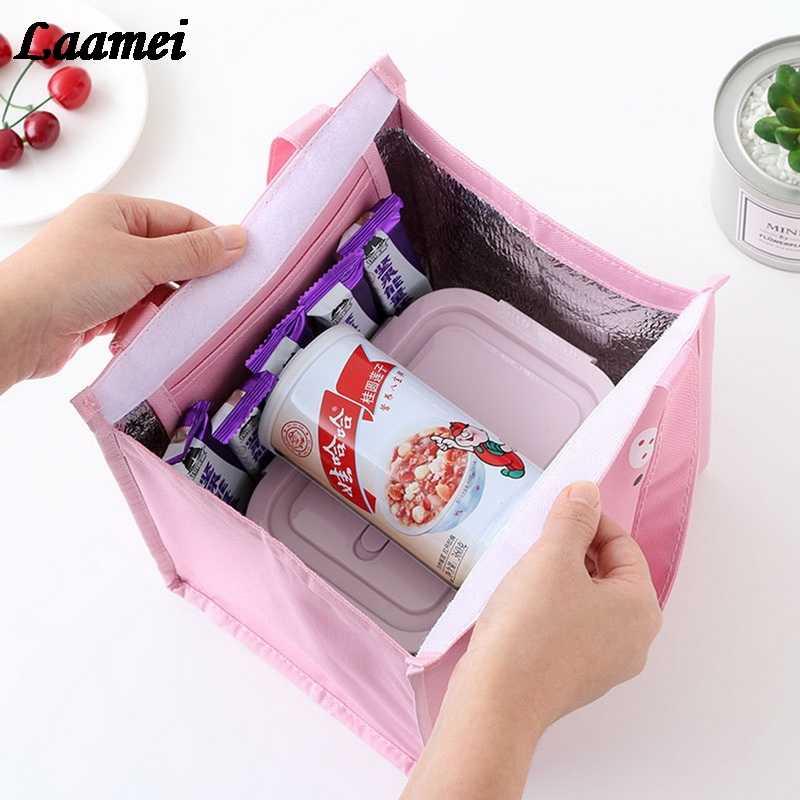 Saco impresso do almoço dos desenhos animados de laamei refrigerador térmico portátil isolado transportar sacos de piquenique caixa de alimentos