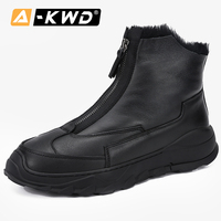 Fashion Men Snow Boots Front Zipper Men Shoes Winter Botas Nieve Hombre Genuine Leather Working Shoes Man High Top Sneakers Man