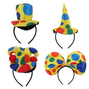 Sombrero de bufón payaso, diadema, disfraz de circo, disfraz de Halloween, vestido de fantasía, accesorios para el cabello
