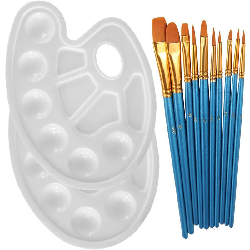 10Pieces Round Pointed Tip Nylon Hair Brush Set With 2 Piece Paint Tray Palette