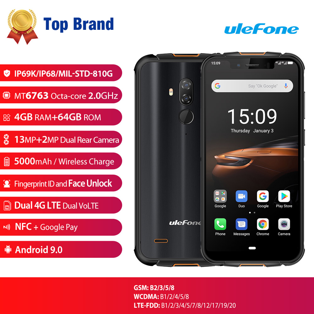 Ulefone Armor 5S 4G LTE Smartphone NFC Android 9.0 Rugged Mobile Phon 4GB+64GB Wireless Charge Waterproof IP68 MT6763 Otca Core|Cellphones| |  - title=