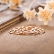 FDLK 4 unids/set exquisita de diamantes de imitación de oro rosa anillos de aniversario, anillo de compromiso para mujer bandas de boda fiesta de navidad regalo