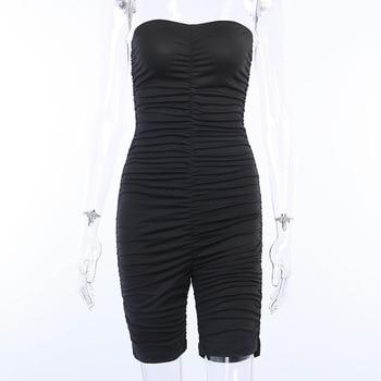 Forefair Black Sports Jumpsuit Women Sexy Strapless Ruched Slim Bodycon One Piece Bodysuit 2020 Summer Women Rompers 4