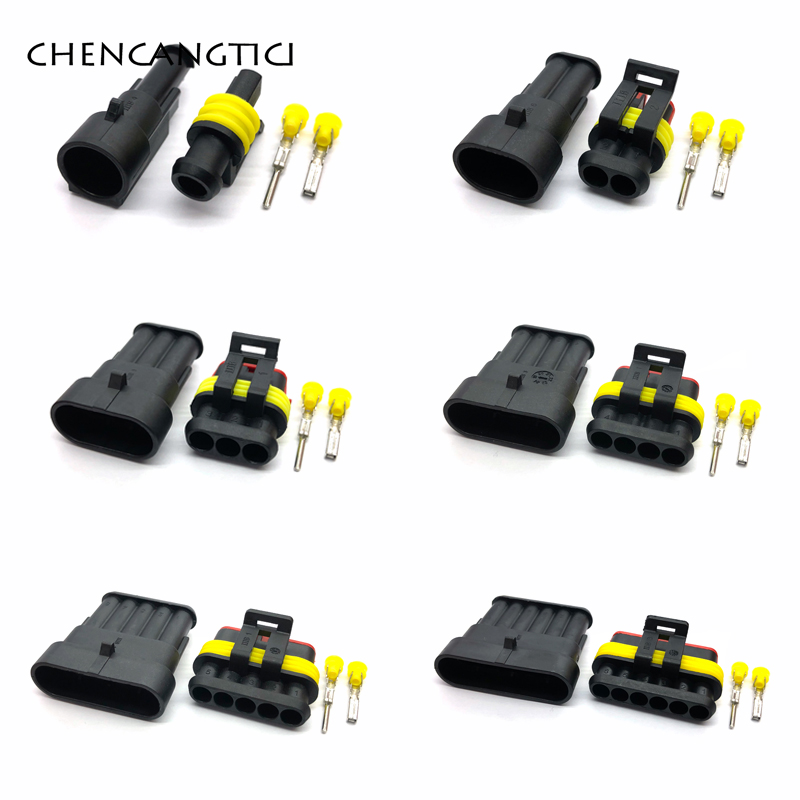 <font><b>5</b></font> sets <font><b>1</b></font> 2 <font><b>3</b></font> <font><b>4</b></font> <font><b>5</b></font> 6 Pin Way AMP Tyco Super Sealed Waterproof Automotive Wire Connector Electrical Plug With Terminals And Seals image