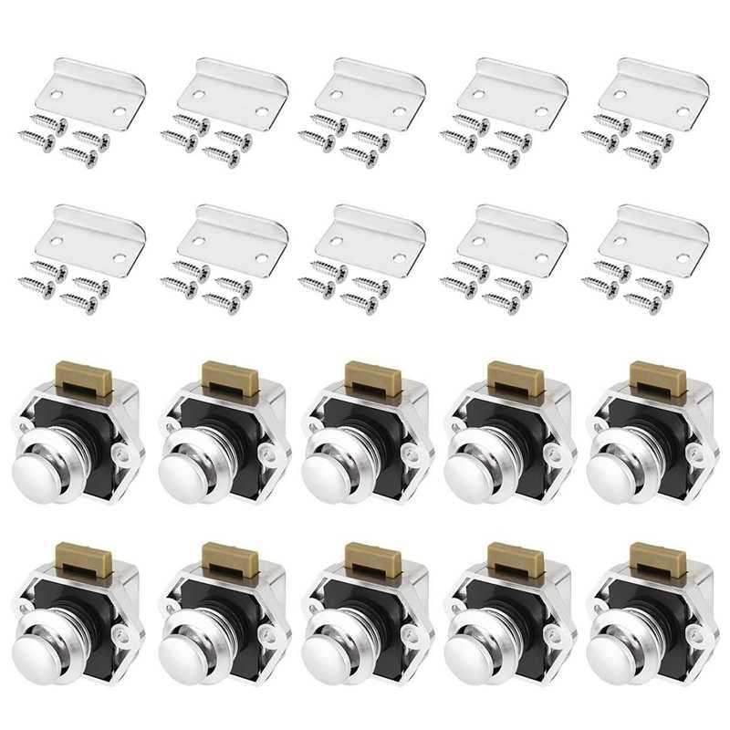 15-27mm Push Button Latch Keyless Cabinet Lock for Caravan Motorhome Nickel