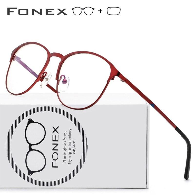 Lunettes de Prescription en alliage de titane femmes marque Designer Vintage lunettes rondes cadre rouge pleine myopie montures optiques lunettes