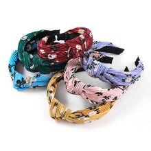 Fashion Horizontal Stripe Folds Printed Fabric Headband Female Knotted Popular Headband Party Banquet Headwear